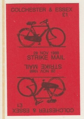 GB 5885 - Colchester & Essex STRIKE MAIL £1 Bicycle PROOF TETE-BECHE PAIR