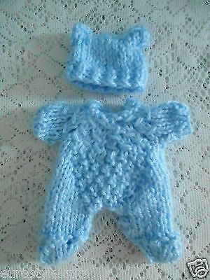 """Doll Clothes Blue Hand Knitted Vintage Style Sleeper set footed fit Berenguer 5"""""""