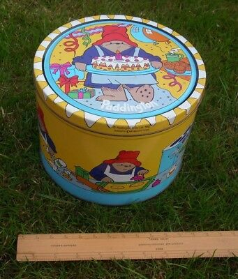 VINTAGE PADDINGTON BEAR BISCUIT TIN COOKING BAKING BIRTHDAY CAKE c.1992 - PERU