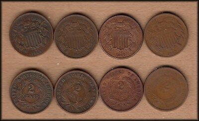 Four Two Cent Pieces - Different Dates