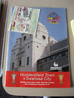 1994 Autoglass Trophy Final + Ticket Huddersfield Town v Swansea City 24.4.1994
