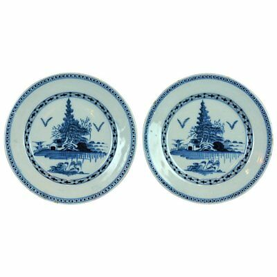 Pair of 18th Century English Delft Blue and White Plates in the Chinese Taste