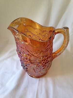 """IMPERIAL Carnival Glass  8-1/2""""h Marigold  Large Pitcher Grapes & Leaf Pattern"""