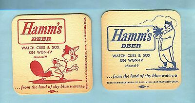 3-3/8 INCH HAMM'S BEER COASTER ... Watch CUBS & SOX on WGN-TV - Hamms Brewing Co