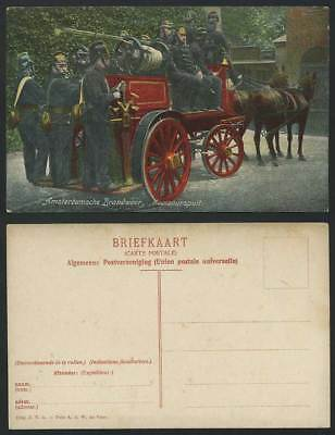 Fire Engine Brigade Fighters, Amsterdam Carbon Dioxide Spray Horses Old Postcard