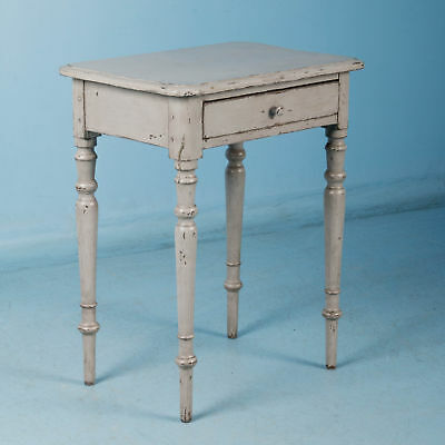 Small Antique Danish Country Side Table Painted Gray