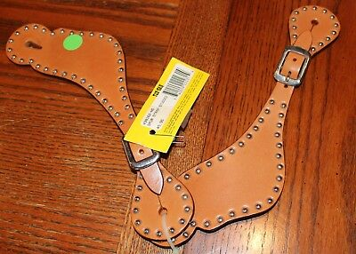 Tex Tan Studded Spur Straps - Natural Color Leather - Nickel Spots