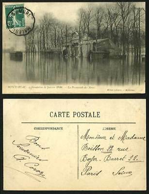 MONTEREAU Disaster FLOOD 1910 Postcard Promenade Noues