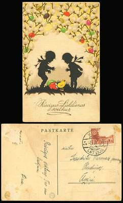 Latvia 1939 Old Postcard Eggs Chick Bird Silhouette of Boy Girl Easter Greetings
