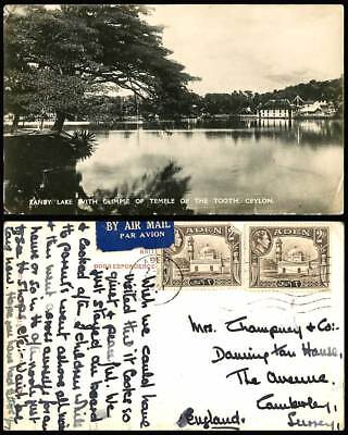 Ceylon Aden KG6 2as 1951 Old Real Photo Postcard Temple of The Tooth, Lake Kandy