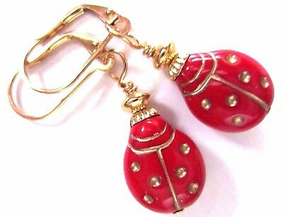 Collectible Red Lady Bug Ladybugs Gold LVRBK Earrings American Made w Velvet Bag