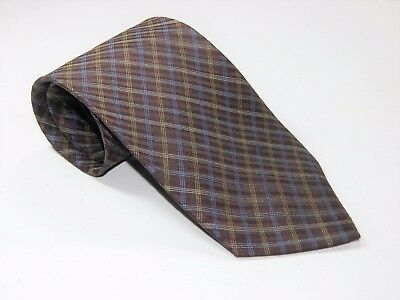 Men's DUNHILL BROWN YELLOW BLUE CROSS STRIPES Silk NECKTIE Tie Made In ITALY
