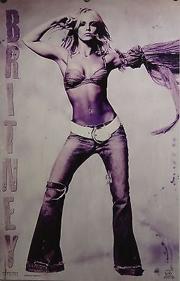 Sexy Young Britney Spears 23x35 Sexy Purple Tinted Poster 2002 New old stock