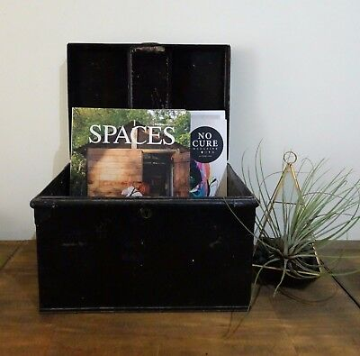 Small Vintage Black Metal Box / Chest w/ Handles Rustic Trunk Record Storage