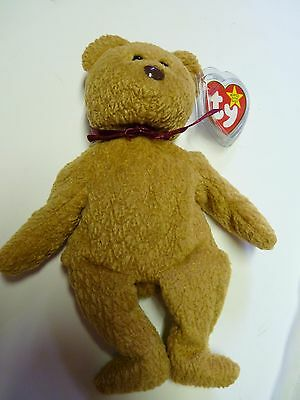 Curly, the Bear - Retired Beanie Babies- Mint/Near Mint