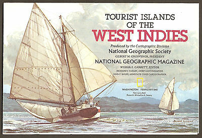 National Geographic Map Feb 1981 - Islands of West Indies & Central America Maps