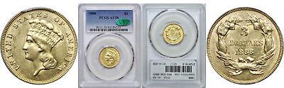 1888 $3 Gold Coin PCGS AU-58 CAC
