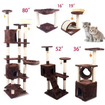 "16""19""36""52""80"" Cat Tree Play House Tower Condo Furniture Scratch Post Basket"