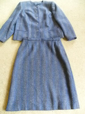 Size 18 Vintage Two Piece Suit Skirt Jacket Wool Eastex Blue Mix