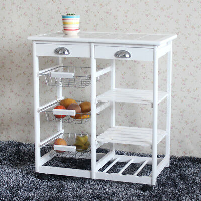 Wood Kitchen Trolley Cart Storage Drawers Stand Durable W/Cabinet Rolling White