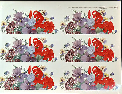 CERAMIC DECALS IRIS BOUQUET  6 ON A SHEET 646419  MATTHEY 18cm X 8 cmRIGHT PRICE