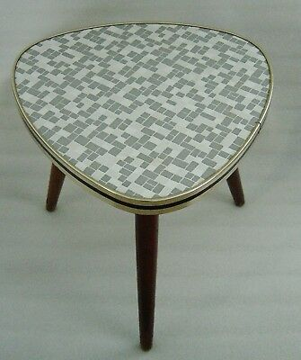 Atomic Age grey checkered formica covered tripod plant stand display table