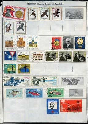 East Germany Ddr Selection Of Used Stamps On Pages Some Stuck Down