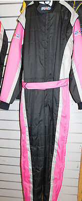 Karting race suit ADULT LARGE size  PINK/BLACK/SILVER