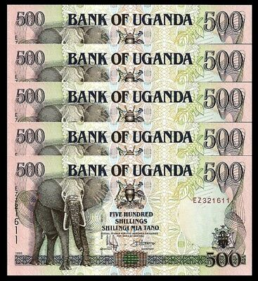 UGANDA 500 SHILLINGS 1998 UNC 5 PCS CONSECUTIVE LOT P-35b , ELEPHANT