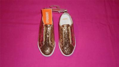 NEW Girls Size 11 Gymboree Shoes Sparkly Gold Glitter Slip-On Sneakers NWT