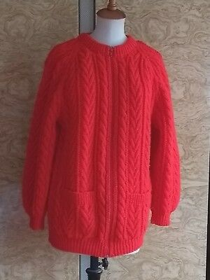 Vintage Cable Knit Cardigan Aran Wool Hand Knitted  - Medium - 12 - 14