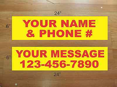 "10 6""x24"" Yellow & Red REAL ESTATE NAME RIDER SIGNS CUSTOM LOWEST PRICE NEW"