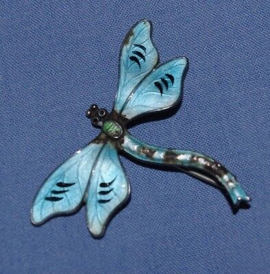 Beautiful Antique Silver & Enamel Brooch In The Form Of A Dragon Fly