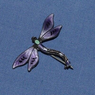 Stunning Antique Silver & Enamel Brooch In The Form Of A Dragon Fly