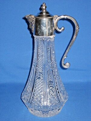 Vintage large glass claret jug with silver plated mounts