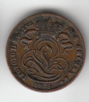 Belgium 1 Cent 1894 Copper        83Z        By Coinmountain