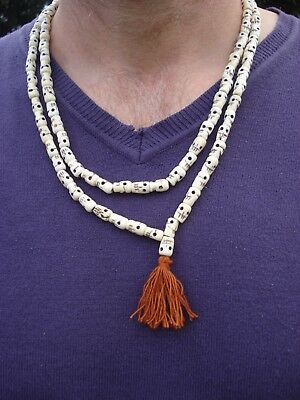 Fair Trade Mallah carved skull Prayer 108 +1 bead bone necklace Buddhist Large
