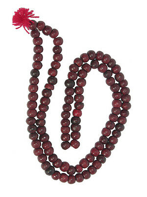 FAIR TRADE Buddhist prayer beads 108 rose wood Japa Mala bead chanting necklace