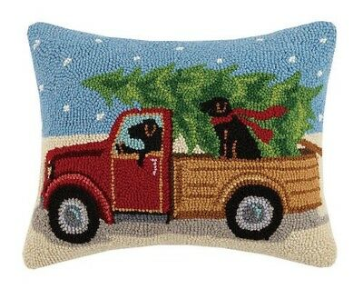"""14x18"""" Truck With Dog Hooked Pillow"""