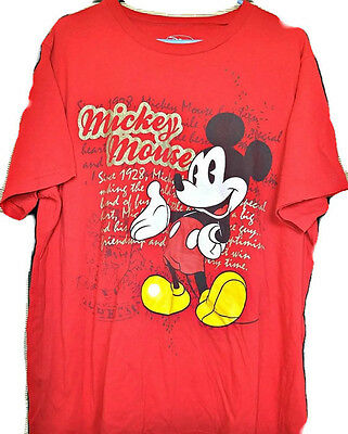 DISNEY Mickey Mouse Graphic Tee Ladies 1X Red Disneyana T-shirt Golden Letters