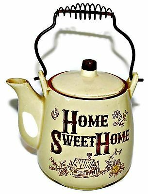 60s Vintage Home Sweet Home Ceramic Tea Pot with Wire Handle Made in Japan EUC