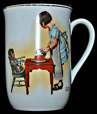 1981 NORMAN ROCKWELL Coffee Mug Party Time Tea Cup Porcelain Tea Party MINT