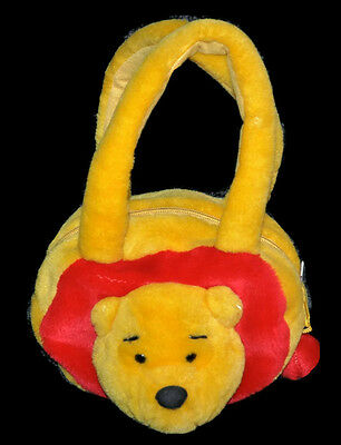 DISNEY Winnie The POOH Plush Purse Girls Zippered Handbag Fluffy 3D Bag EUC
