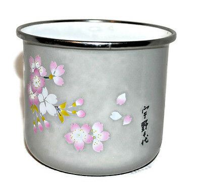 Japanese Enamel Tin Container CHERRY BLOSSOMS Gray Kitchen Bowl