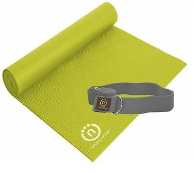 "EcoSmart Durable Yoga Mat & SlingStrap_by Natural Fitness Non Slip_24""x69''x6mm"