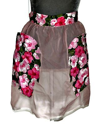Vintage Sheer Hostess Half Apron Pink Floral Pockets Tie Up Back