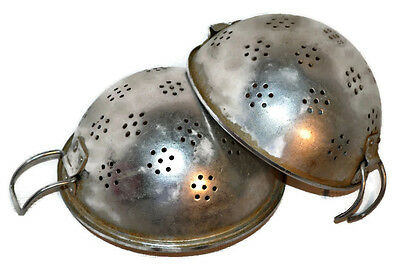 Vintage Aluminum Strainers Set of 2 Round Colanders w. Handle Flower Holes