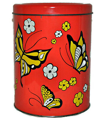 Vintage BALLONOFF Large Metal Cookie Canister Retro Tin w. Lid Butterflies USA