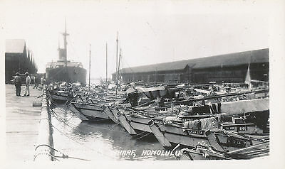 1930s Hawaii Photo Japanese sampan boats at dock, Honolulu