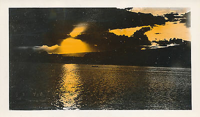 1930s Hawaiian Sunset  Hand Colored Hawaii Photo #3